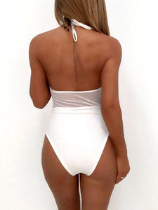 Halter  See-Through  Embroidery One Piece