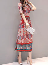 Surplice  Lace-Up  Printed Maxi Dress