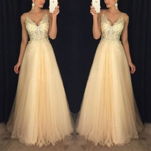 Sexy V Collar Chiffon Sequined Evening Dress