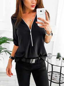 V-Neck  Patchwork  Plain Shirts&Blouses