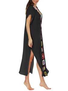 Deep V-Neck  Brocade Maxi Dress