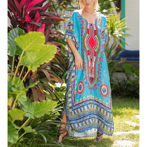 Bohemian V Collar Vacation Dress
