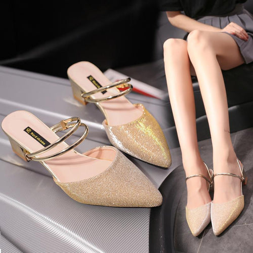 Fashion Thick Heel Pointed Mule Shoes
