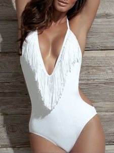 Halter  Fringe  Plain One Piece