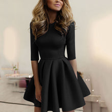 Casual  Elegant Pure Color Half Sleeves Mini Dress