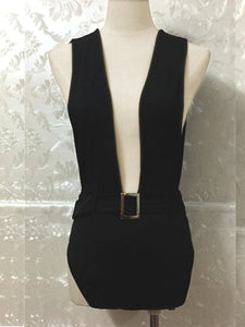 Deep V-Neck  Belt  Plain One Piece