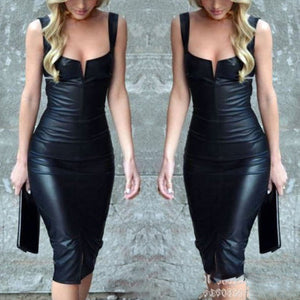 Elegant Black Sleeveless PU Bodycon Dress