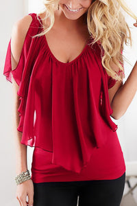 Open Shoulder Round Neck  Plain  Batwing Sleeve  Blouses