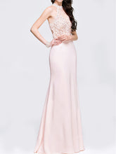 Halter Patchwork Plain Evening Dress