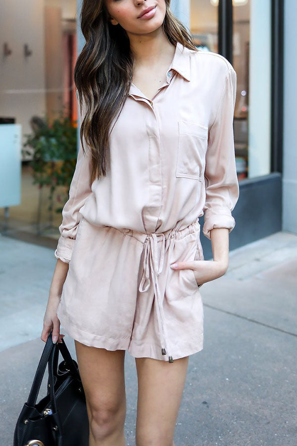 Stylish Casual Short Sleeves Solid Romper
