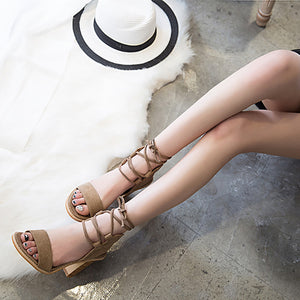 Fashion Pure Color Cross Belt Thick Heel Sandals