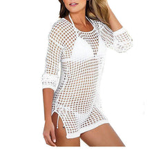 Knitted Long-Sleeved Mesh Hollow Beach Wear Dress