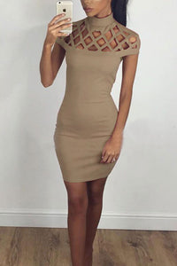 High Neck  Hollow Out Plain  Short Sleeve Bodycon Dresses
