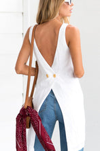 Round Neck  Asymmetric Hem Backless  Plain  Vests