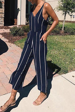 Spaghetti Strap  Belt  Striped  Sleeveless Jumpsuits