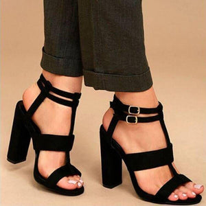 Fashion Pure Color Thick Heels Fish Mouth Sandals