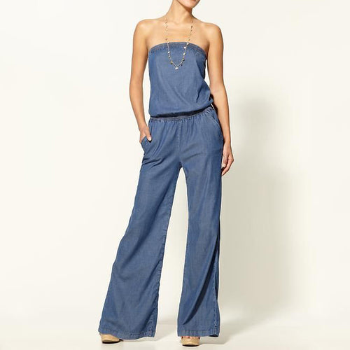 Tube Thin Jeans Jumpsuit