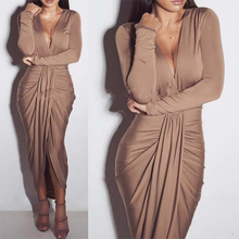 Deep V-Neck  Asymmetric Hem High Slit Ruffled Hem  Bust Darts  Plain Maxi Dresses