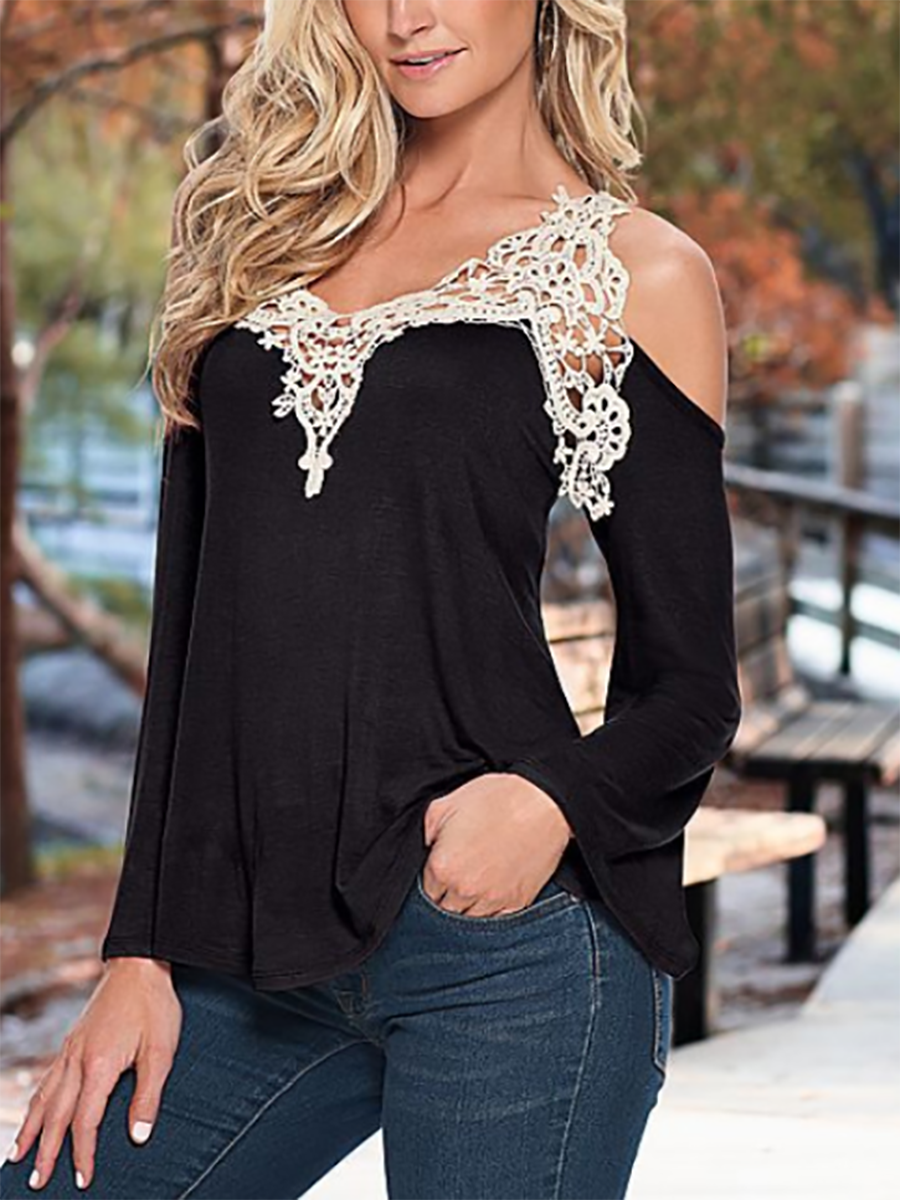 V-Neck  Backless Decorative Lace  Curved Hem  Lace Plain  Bell Sleeve Long Sleeve T-Shirts