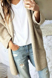Knee Length Blend  Casual  Plain Cardigans