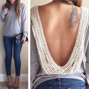 Crew Neck  Backless Decorative Lace  Crochet  Lace Long Sleeve T-Shirts