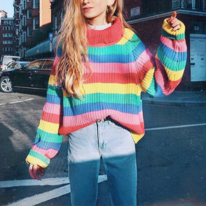 Fashion Multi Color Stripes Turtle Neck Long Sleeve Knitting Sweaters