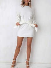 Crew Neck  Cutout Lace-Up  Belt Belt Loops  Plain  Puff Sleeve Shift Dresses
