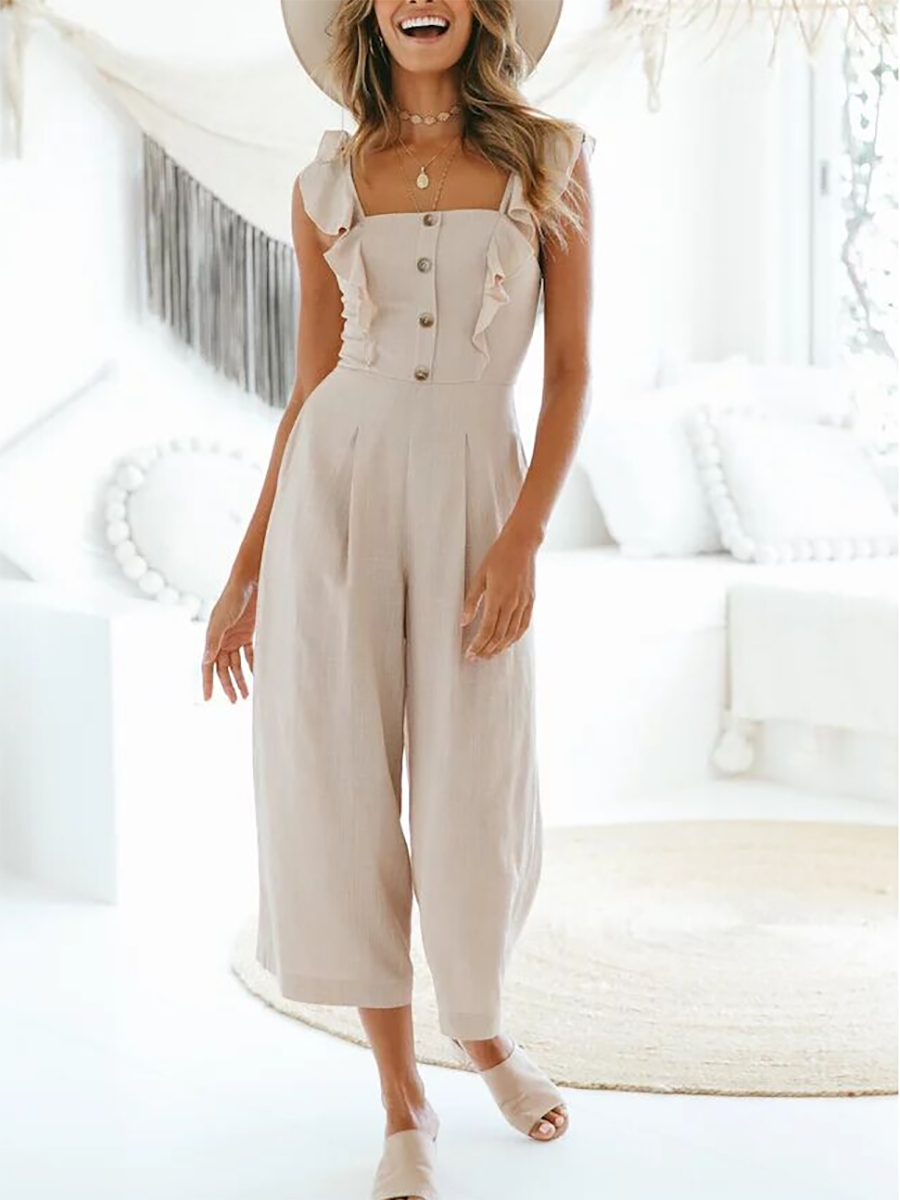 Flounce Ruffle Trim Single Breasted  Bust Darts  Plain Jumpsuits