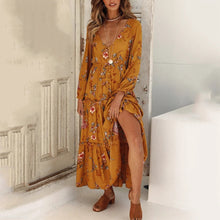 Fashion Floral Print Long Sleeve Maxi Dress