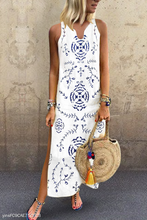 Casual V Collar Floral Printed Loose Maxi Dress
