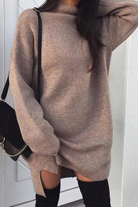 Fashion Plain Long Sleeve Knit Sweater Casual Dress