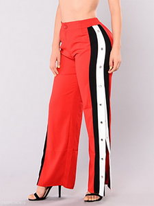 Elastic Waist High Slit Side Slit Single Breasted  Single Button  Striped Pants