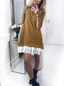 Crew Neck  Flounce Patchwork Ruffle Trim  Cascading Ruffles  Plain Shift Dresses