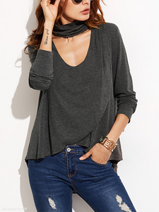 Halter  Asymmetric Hem Cutout Flounce  Curved Hem  Plain Long Sleeve T-Shirts