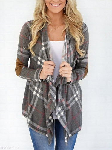 Asymmetric Neck  Asymmetric Hem Cutout Patchwork  Curved Hem  Plaid Cardigans