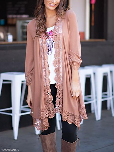 Decorative Lace Flounce Ruffle Trim  Crochet  Lace  Petal Sleeve Cardigans