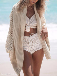 Fashion Hollow Knit Cardigan Sweater