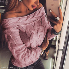 Sexy Off Shoulder Long Sleeve Plain Knitting Sweaters