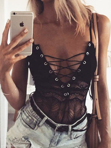 Deep V-Neck  Lace-Up  Lace Plain Camisoles