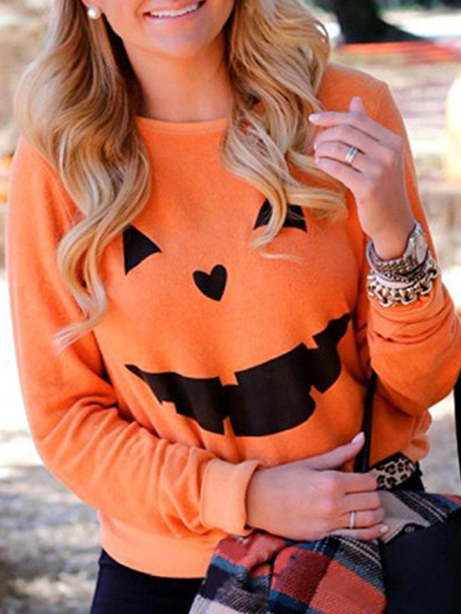 Halloween Rinted Long Sleeved Sweater