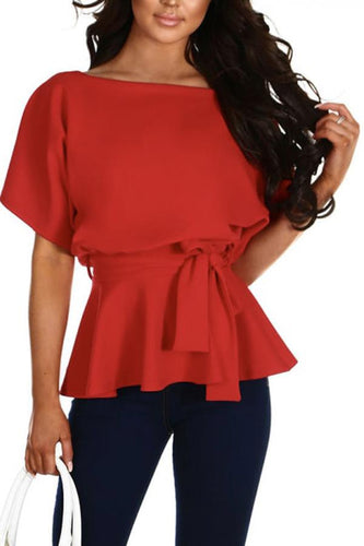 Fashion Plain Short Sleeve Shirt Blouse
