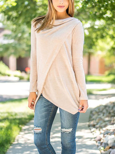 Scoop Neck  Asymmetric Hem Cutout Lightweight  Curved Hem  Plain Long Sleeve T-Shirts