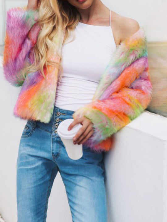 Rainbow Scoop Neck Gradient Coats