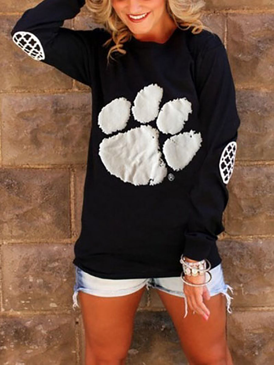 Crew Neck  Cutout Lightweight Patchwork  Cartoon Long Sleeve T-Shirts