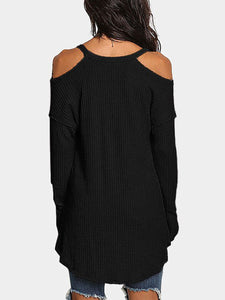V-Neck  Asymmetric Hem Backless Cutout  Curved Hem  Plain Sweaters