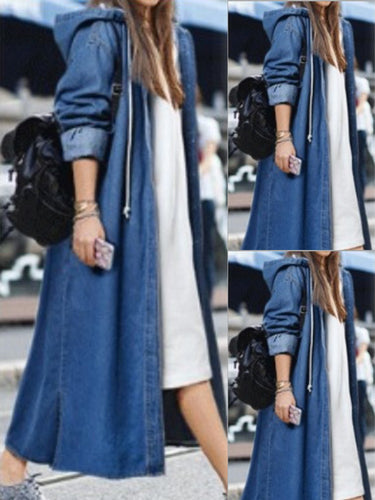 Denim Hooded  Single Breasted  Plain Trench Coats