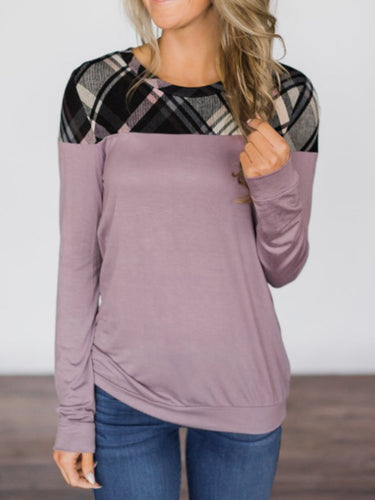 Round Neck  Patchwork  Plaid Casual T-Shirts