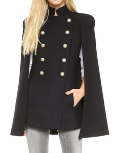 Band Collar  Double Breasted  Plain  Cape Sleeve Coats