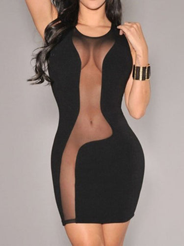 Round Neck  See-Through  Plain Bodycon Dresses