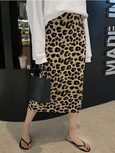 Cutout Elastic Waist  Contrast Stitching  Leopard Knee-Length Skirts